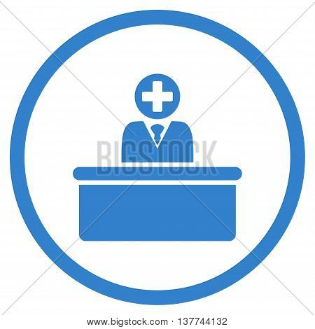 Medical Bureaucrat vector icon. Style is flat circled symbol, cobalt color, rounded angles, white background.