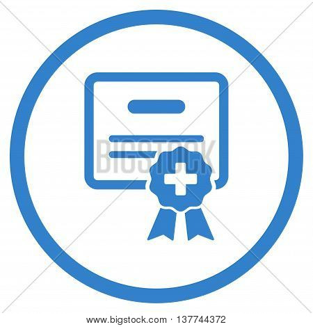 Medical Certification vector icon. Style is flat circled symbol, cobalt color, rounded angles, white background.