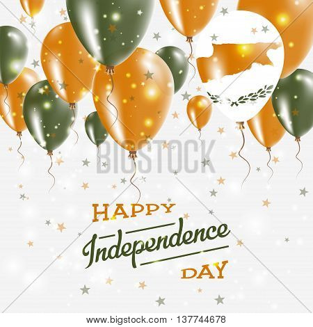 Cyprus Vector Patriotic Poster. Independence Day Placard With Bright Colorful Balloons Of Country Na