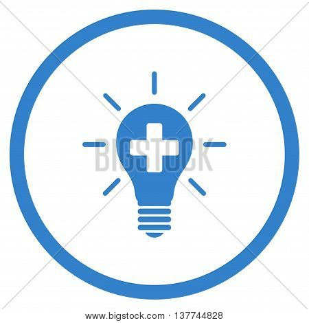 Medical Electric Lamp vector icon. Style is flat circled symbol, cobalt color, rounded angles, white background.