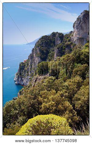 Capo d'Orso, Maiori   La Punta di Capo d'Orso in Costiera Amalfitana, in lontananza Punta Campanella e l'Isola di Capri Italia, Maggio 2016 The Promontory of Capo d'Orso on the Amalfitan Coast in Italy on background is visible the Capri Island with Faragl