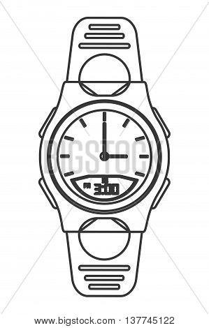 flat design modern analog watch icon vector illustration line design