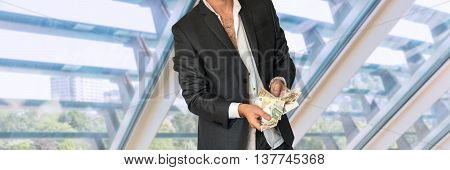 Disheveled Man In Business Suit With Money
