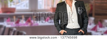 Disheveled Businessman In Black Suit