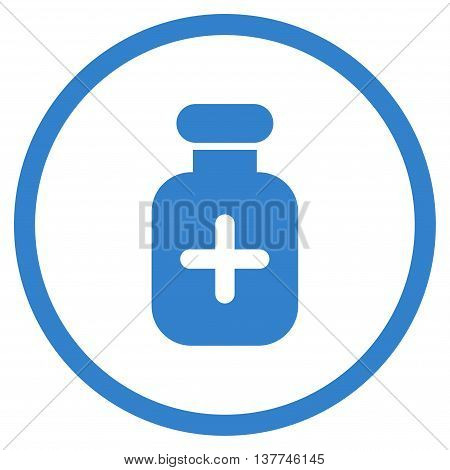 Medication Container vector icon. Style is flat circled symbol, cobalt color, rounded angles, white background.