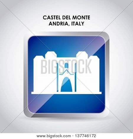 Italy culture concept represented by castel del monte icon. Colorfull and flat illustration.