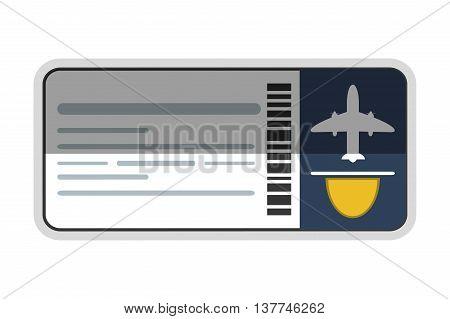flat design airplane ticket icon vector illustration