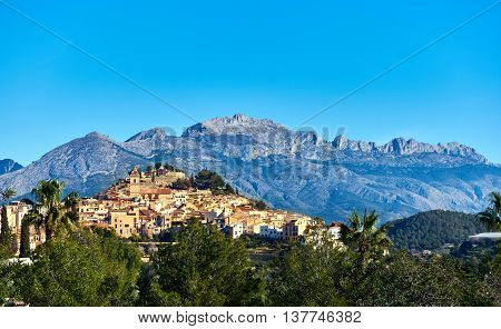 Picturesque spanish hillside village Polop de la Marina. Province of Alicante Costa Blanca. Spain