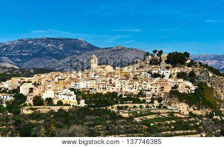 Picturesque spanish hillside village Polop de la Marina. Province of Alicante Costa Blanca. Spain