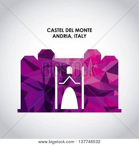 Italy culture concept represented by castel del monte icon. Colorfull and Polygonal illustration.