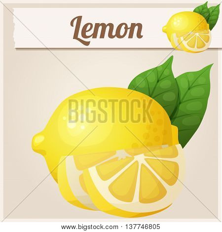 Lemon. Cartoon vector icon. Series of food and drink and ingredients for cooking.