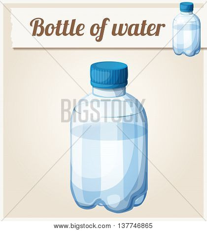 Bottle of water. Detailed vector icon. Series of food and drink and ingredients for cooking.