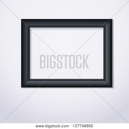 Stylish black photoframe. Vector illustration on light background