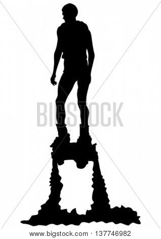 Athlete flyboard on a white background