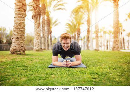 Happy Man Pracitising Yoga