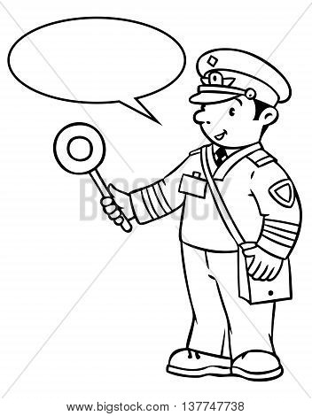 Coloring picture or coloring book of funny railroader in uniform. Profession series. Children vector illustration. With balloon for text.