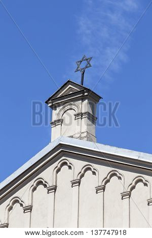 Star of David on top of Tempel Synagogue in jewish district of Krakow - Kazimierz Poland