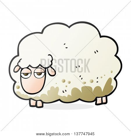 freehand drawn cartoon muddy winter sheep