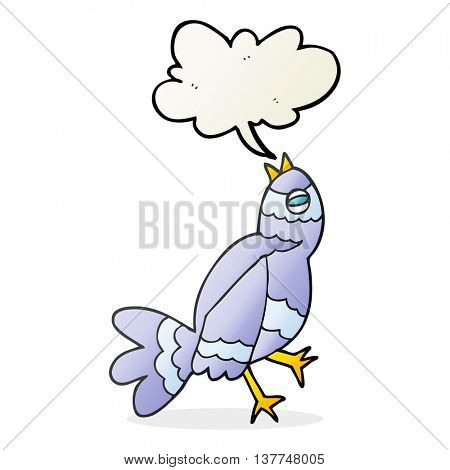 freehand drawn cartoon bird singing