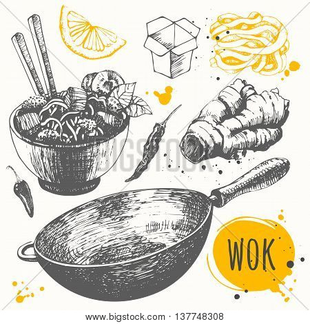 Vector food illustration with wok products. Asian fast food