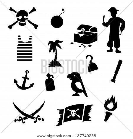 Vector black pirates icons set on white background