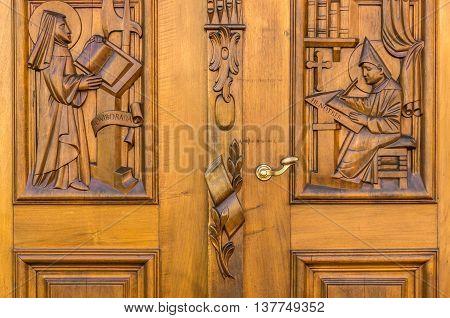 Old Wooden Door To The Church In St. Gallen