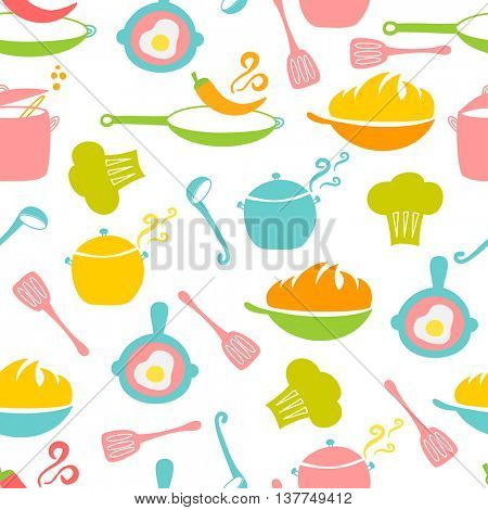 Kitchen elements seamless pattern. Wok, pan, pot, soup, fried egg, spoon, scoop, chilli pepper, stewpot