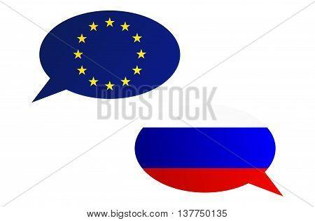 Conversation Bubbles Between Eu And Russia