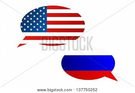 Conversation Bubbles Between Usa And Russia