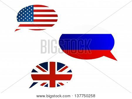Conversation Bubbles Between Usa, United Kingdom And Russia