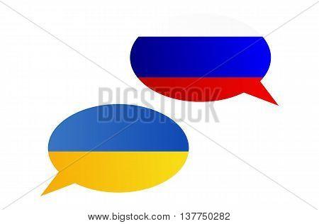 Conversation Bubbles Between Russia And Ukraine