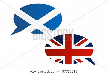 Conversation Dialogue Bubbles Between Scotland And Uk