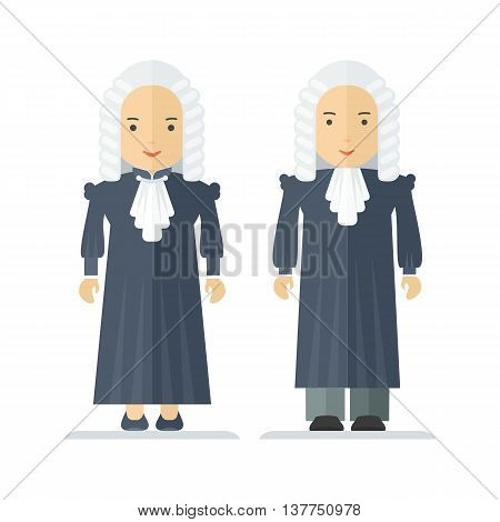 Judge a wig man and a woman. Characteristic for the process of the court and the protection rights of citizen. Objects isolated on white background. Flat cartoon vector illustration.