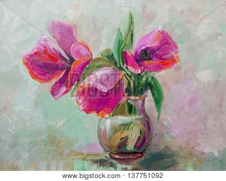 Oil Painting Impressionism style texture painting flower still life painting art painted color image wallpaper and backgrounds canvas artist painting floral pattern tulips