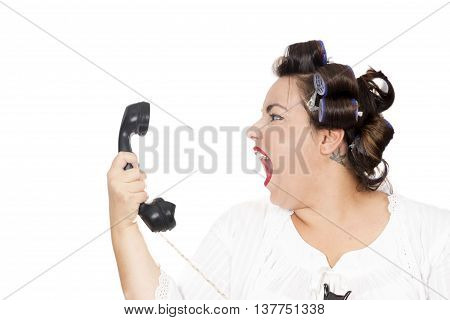 woman screaming at telephone isolated on white background