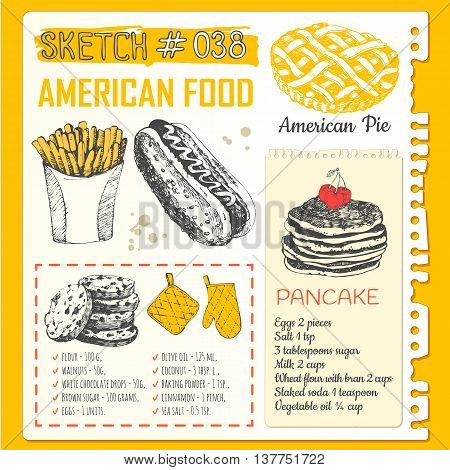 US food in the sketch style. Main course and snacks. American traditional products. Vector illustration of ethnic cooking: hot dog pancake french fries american cookies.