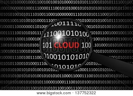 Binary Code With Cloud And Magnifying Lens