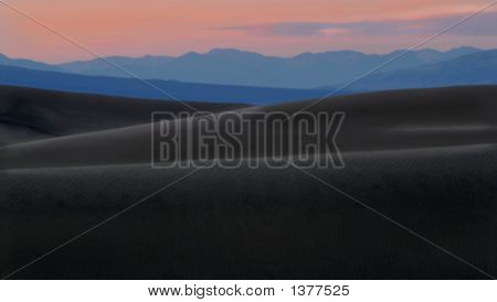 Dramatic View Of The Sand Dunes Of Death Valley California After Sundown