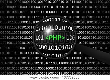 Binary Code With Php And Magnifying Lens