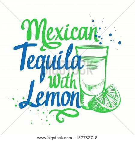 Brush calligraphy elements for your menu design. Handwritten ink lettering. Glass of tequila with lemon in sketch style.