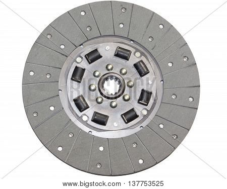 The clutch disc from the car isolated on white background