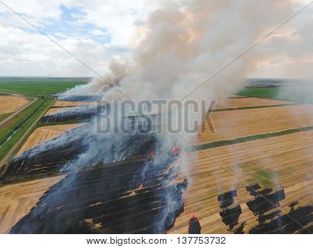 Burning Straw In The Fields Of Wheat After Harvesting