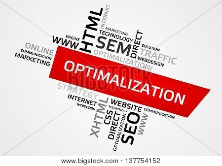 Optimalization Word Cloud, Tag Cloud, Vector Graphics