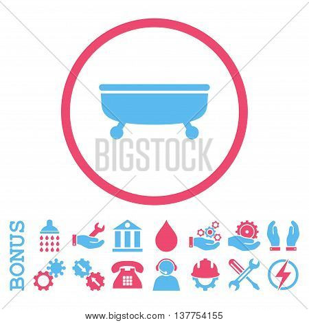 Bathtub vector bicolor icon. Image style is a flat pictogram symbol inside a circle, pink and blue colors, white background. Bonus images are included.