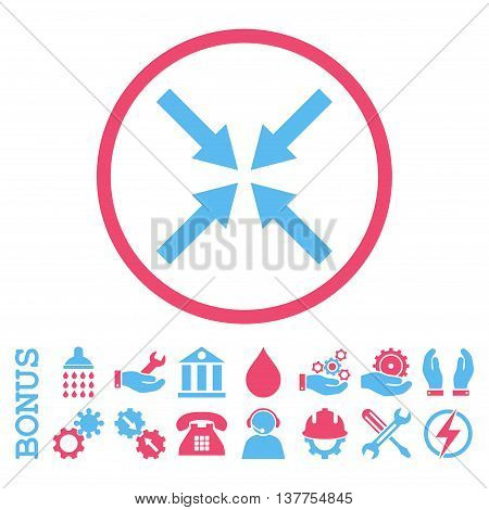 Center Arrows vector bicolor icon. Image style is a flat pictogram symbol inside a circle, pink and blue colors, white background. Bonus images are included.