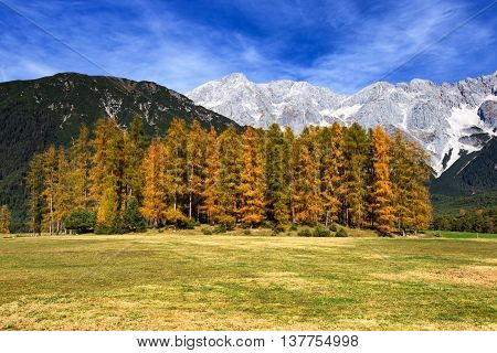 Mieminger Plateau Mountains in autumn Tyrol Austria.
