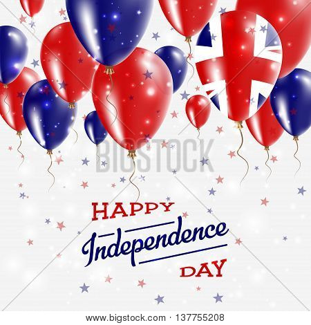 United Kingdom Vector Patriotic Poster. Independence Day Placard With Bright Colorful Balloons Of Co