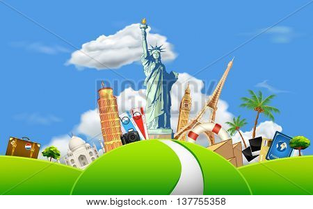 illustration of Travelling background with historical monument on meadow