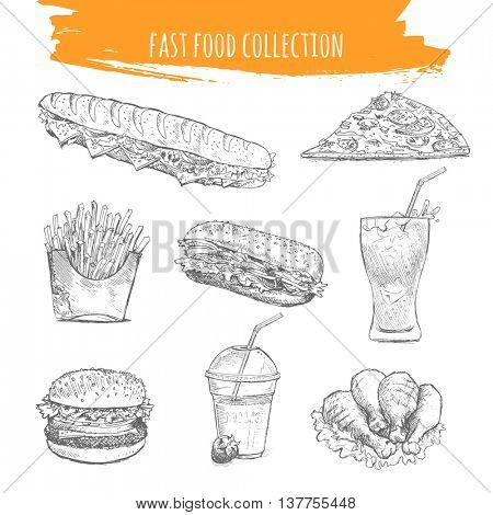 Fast food vector. Hand drawn sketch illustration of street food. French baguette, slice of pizza, fried potatoes fries, hamburger, cheese burger, sandwich, chicken legs, milkshake, cola glass