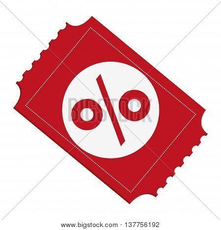 Discount ticket percenrtage icon isolated vector illustration